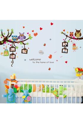 Crystal Kids Sevimli Baykuşlar ve Fotoğraf Resim Çerçeveleri Bebek ve Çocuk Odası PVC Duvar Sticker