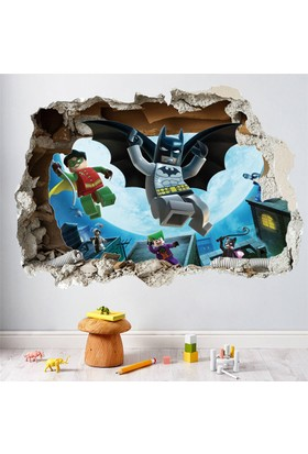 Crystal Kids Lego Batman Robin 3D Çocuk Odası PVC Duvar Sticker