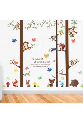 Crystal Kids Maymunlar Kuşlar Ağaçlar Bebek ve Çocuk Odası PVC Duvar Sticker