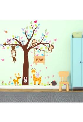 Crystal Kids Ağaç Maymunlar Hayvanlar Çocuk ve Bebek Odası PVC Duvar Sticker