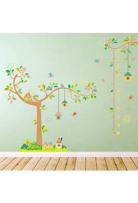 Crystal Kids Ağaç ve Kuşevleri Bebek ve Çocuk Odası Boy Ölçer PVC Duvar Sticker