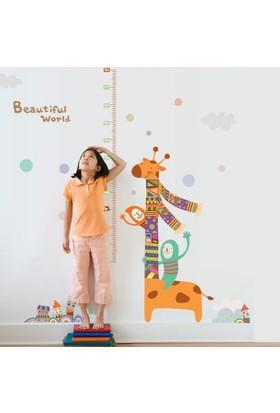 Crystal Kids Renkli Zürafa Boy Ölçer Çocuk ve Bebek Odası Duvar Sticker