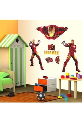 Crystal Kids Iron Man Demir Adam Avengers Süper Kahraman Çocuk ve Genç Odası PVC Sticker