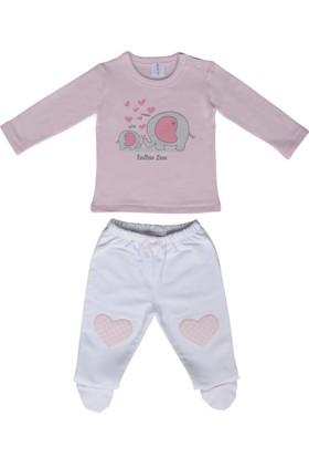 Happy Moon Anne&Bebek Fil Baskılı Pembe Sweatshirt Ve Beyaz Patikli Alt