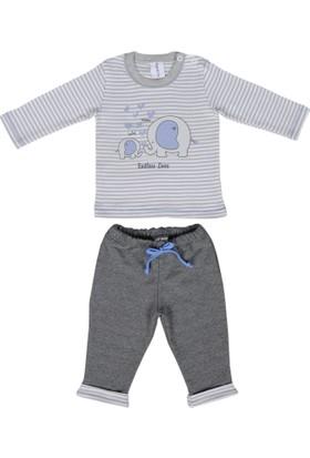 Happy Moon Anne&Bebek Fil Baskılı Gri Çizgili Tshirt Ve Koyu Gri Alt