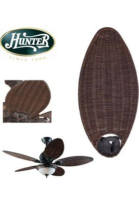 Hunter Savoy Fırçalanmış Nikel - 137 Cm. Hasır Kanatlı ve Aydınlatmalı Tavan Vantilatörü