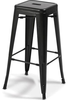 Vitale Sırtsız Siyah Tolix Bar Sandalyesi