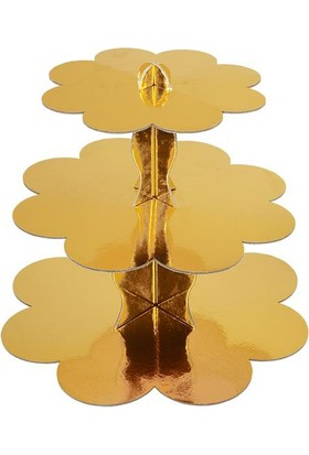 Partioutlet Gold Kek Standı 3 Katlı