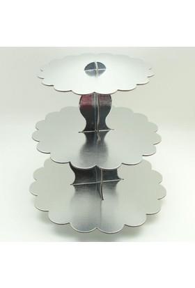 Partioutlet Gümüş Kek Standı 3 Katlı
