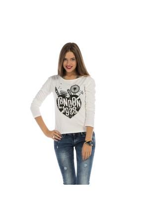 Colin's Beyaz Kadın Tshirt Uzun Kol