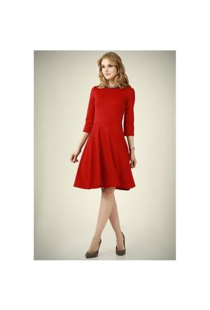 Ervans Eteği Kloş Elbise Bordo