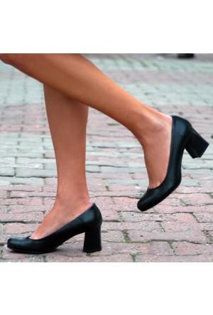 Sothe Ba-1016 Kadın Siyah Deri Kısa Kalın Topuklu Stiletto
