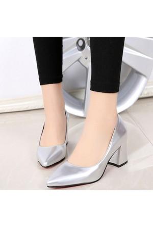 Sothe Ba-1024 Kadın Gümüş Mat Rugan Kısa Kalın Topuklu Stiletto