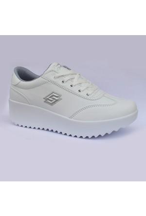Parley Beyaz Bayan Günlük Dolgu Topuk Ayakkabı
