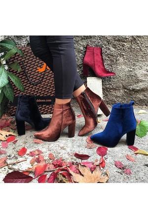 Shop and Shoes Bayan Bot Mavi Kadife 162-1700