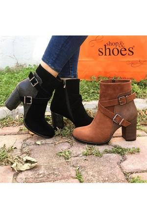 Shop and Shoes Bayan Bot Taba Süet 069-2402