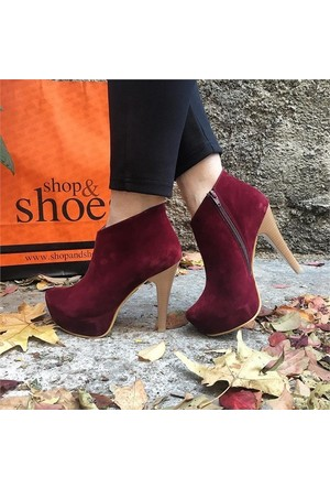 Shop and Shoes Bayan Bot Bordo Süet 157-5001