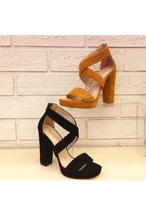 Shop and Shoes Bayan Sandalet Hardal Süet 173-0507