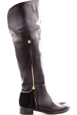 De Scario 222 Kadın Yanı Püsküllü Fermuarlı Knee High Çizme