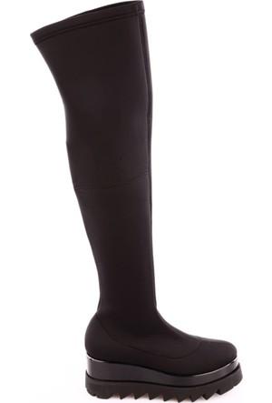 Dgn 2394 Kadın Yüksek Eva Taban Thigh High Stretch Çizme