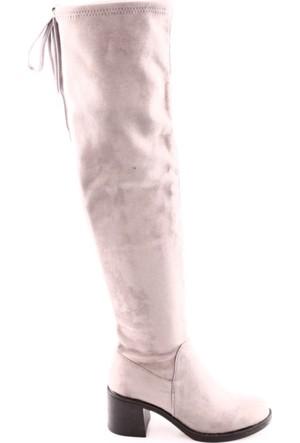 Dgn 3001 Kadın Topuklu Thigh High Stretch Çizme