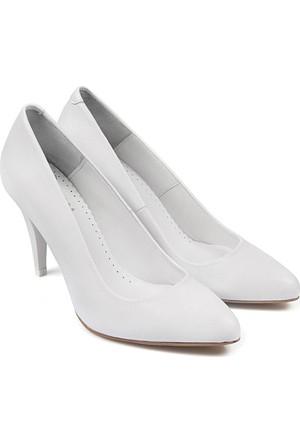 Gön Deri Kadın Ayakkabı Beyaz 15254