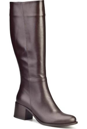 Cabani Fermuarlı Kadın Çizme Kahverengi Deri