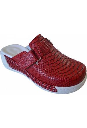 Yılkon Dolgu Topuk Tokalı Kırmızı Anakonda Sabo Terlik