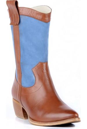 FootCourt Kadın Kovboy Botu Nayro Taba-Mavi 40