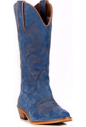 FootCourt Kadın Kovboy Çizmesi Bach Mavi 40