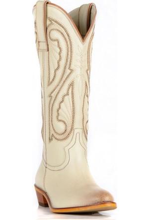 FootCourt Kadın Kovboy Çizmesi Kavak Krem 40