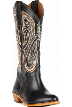 FootCourt Kadın Kovboy Çizmesi Kavak Siyah 40