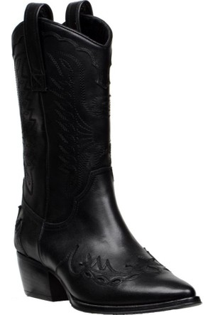 FootCourt Bayan Kovboy Çizmesi Tarçın Siyah 40