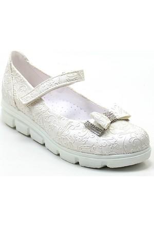 Varkan Tokalı Kız Çocuk Ayakkabı Ekru