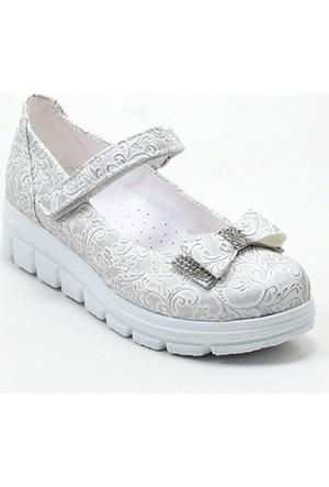 Varkan Tokalı Kız Çocuk Ayakkabı Gümüş
