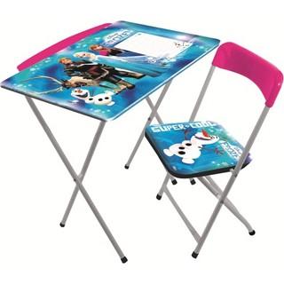 Furkan Toys Frozen Lisanslı Masa Sandalye Seti - Yazı Tahtalı & Kalemlikli