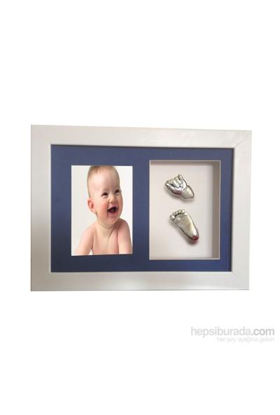 Küçük İzler Beyaz Çerçeveli Resimli Aljinat ile 3 boyutlu Bebek El-Ayak İzi Heykeli Kalıp Seti
