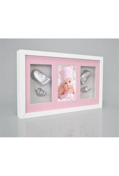 Küçük İzler Beyaz Çerçeveli Resimli 3 Bölmeli, Aljinat ile 3 boyutlu Bebek 2 El-2 Ayak İzi Heykeli Kalıp Seti