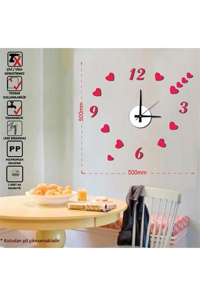 Tüyball Kırmızı Kalpli Sticker Duvar Saati