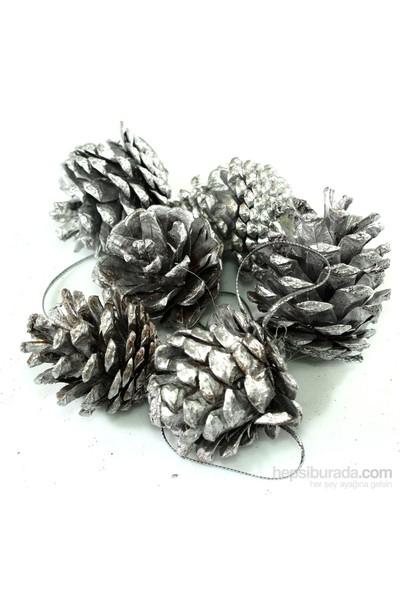 Artte Yılbaşı Ağaç Süsü Gümüş Kozalak 4 Cm 6 Parça