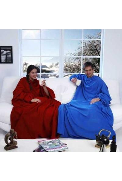 Uygun Giyilebilir Kollu Battaniye Kırmızı