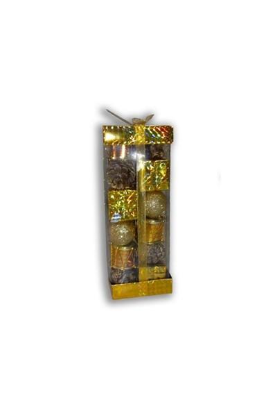 Karışık Yılbaşı Süsleri 24 Lü Paket Sarı