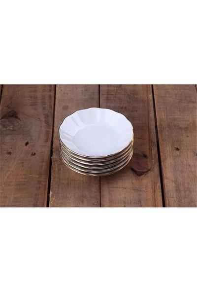 Porland Porselen Çay Tabağı 6 Lı Yaldızlı Beyaz Mğz