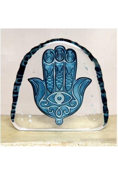 Masa-Sehpa Üstü Cam Dekor Bereket Eli-Mavi