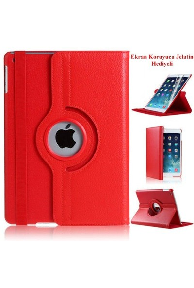 Romeca iPad Air 2 360 Derece Dönebilen Kırmızı Tablet Kılıfı + Ekran Koruma Filmi Hediyeli