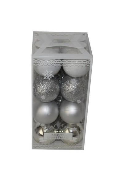 Gümüş Renk Özel Kutuda 6 Cm 16 Adet Cici Top Süs