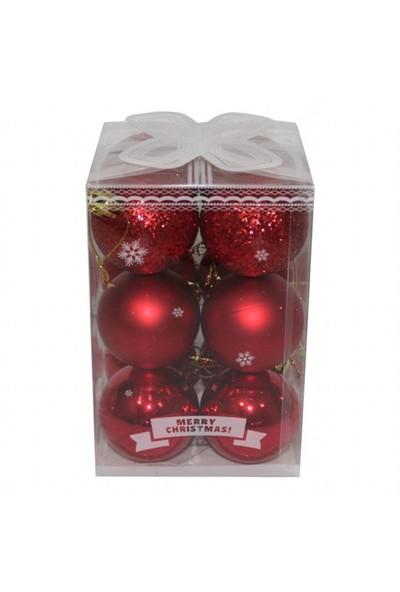 12 Parça Kırmızı Renkli Çam Ağacı Cici Top Süs 5 Cm