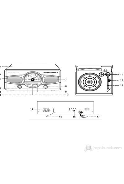 Classic Phono TT-28 R Dahili Hoparlörlü Retro Pikap (Kırmızı) (Pikap İğnesi Hediye)