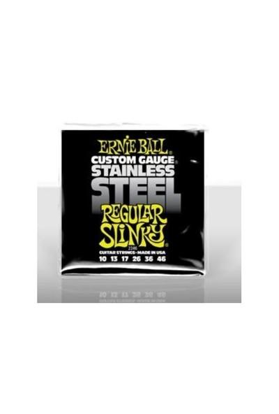 Ernie Ball PO2246 Stainless Steel Regular Slinky 10-46 Elektro Gitar Tel Seti