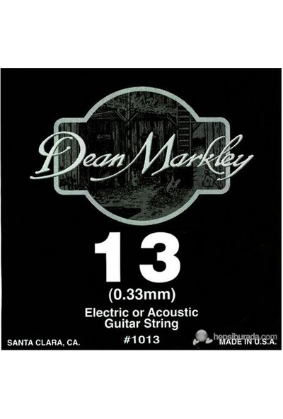 Dean Markley Plain Single .013 Elektro Gitar Telleri